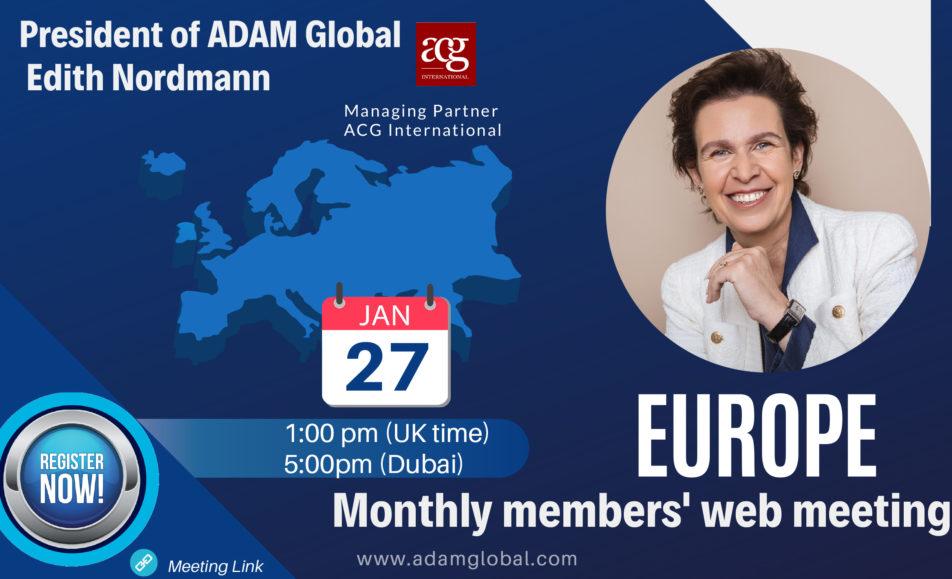 EUROPE Monthly members' web meeting – Jan 2021